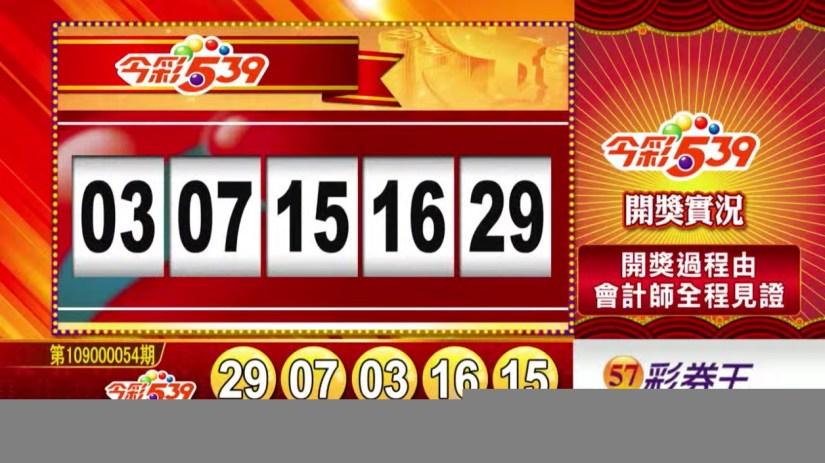 今彩539中獎號碼》第109000054期 民國109年3月3日