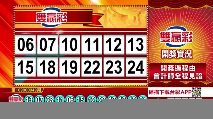 雙贏彩中獎號碼》第109000049期 民國109年2月26日