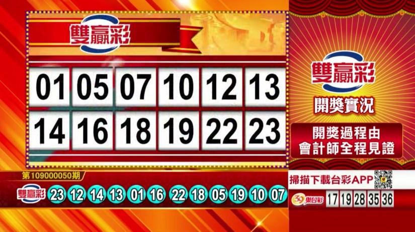 雙贏彩中獎號碼》第109000050期 民國109年2月27日