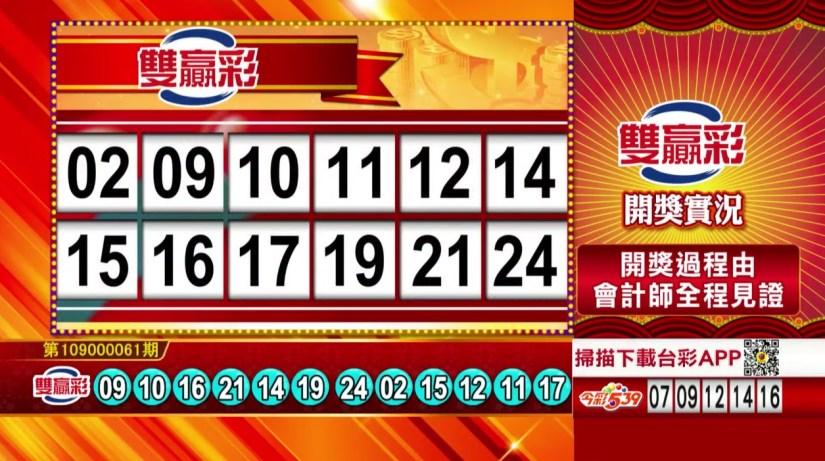 雙贏彩中獎號碼》第109000061期 民國109年3月11日