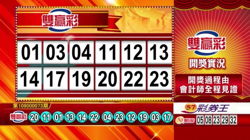 雙贏彩開獎號碼》第109000073期 民國109年3月25日