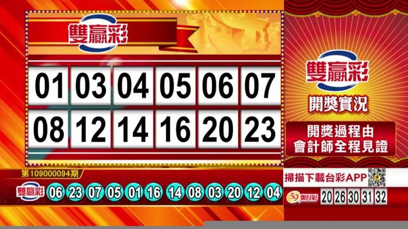 雙贏彩中獎號碼》第109000094期 民國109年4月18日 《#雙贏彩 #樂透彩開獎號碼》