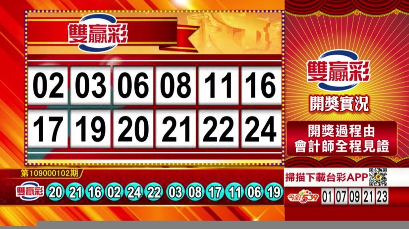 雙贏彩開獎號碼》第109000102期 民國109年4月28日 《#雙贏彩 #樂透彩中獎號碼》