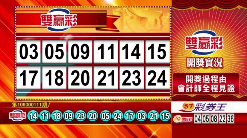 雙贏彩中獎號碼》第109000111期 民國109年5月8日 《#雙贏彩 #樂透彩開獎號碼》