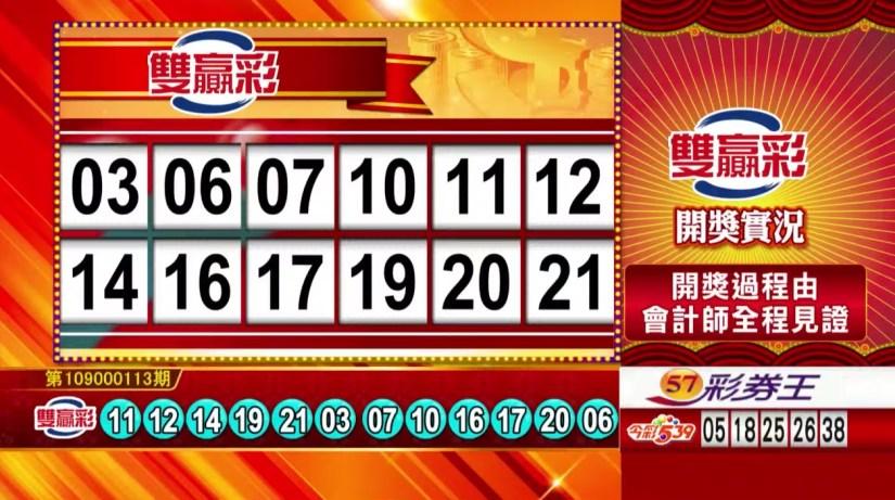 雙贏彩中獎號碼》第109000113期 民國109年5月11日 《#雙贏彩 #樂透彩開獎號碼》