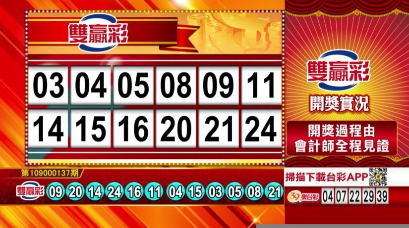 雙贏彩中獎號碼》第109000137期 民國109年6月8日 《#雙贏彩 #樂透彩開獎號碼》