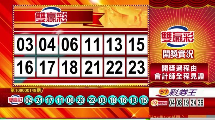 雙贏彩中獎號碼》第109000148期 民國109年6月20日 《#雙贏彩 #樂透彩開獎號碼》