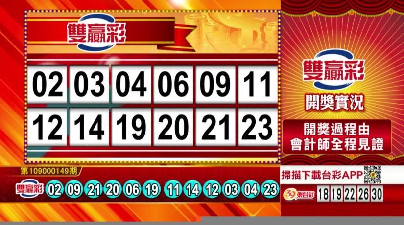 雙贏彩中獎號碼》第109000149期 民國109年6月22日 《#雙贏彩 #樂透彩開獎號碼》
