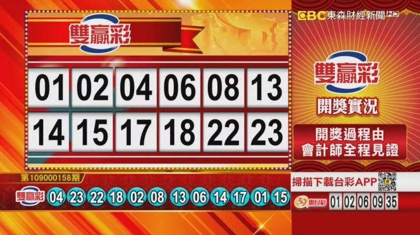 雙贏彩中獎號碼》第109000158期 民國109年7月2日 《#雙贏彩 #樂透彩開獎號碼》