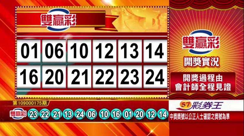 雙贏彩中獎號碼》第109000175期 民國109年7月22日 《#雙贏彩 #樂透彩開獎號碼》