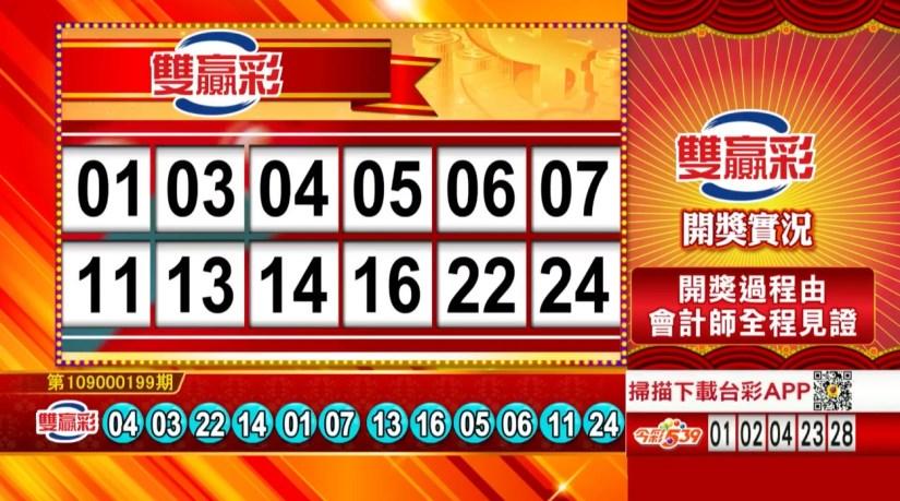 雙贏彩開獎號碼》第109000199期 民國109年8月19日 《#雙贏彩 #樂透彩中獎號碼》