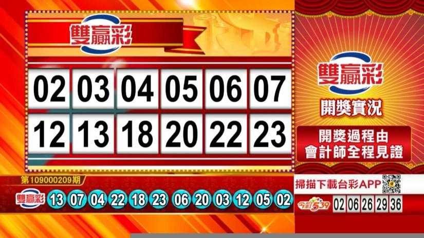 雙贏彩中獎號碼》第109000209期 民國109年8月31日 《#雙贏彩 #樂透彩開獎號碼》