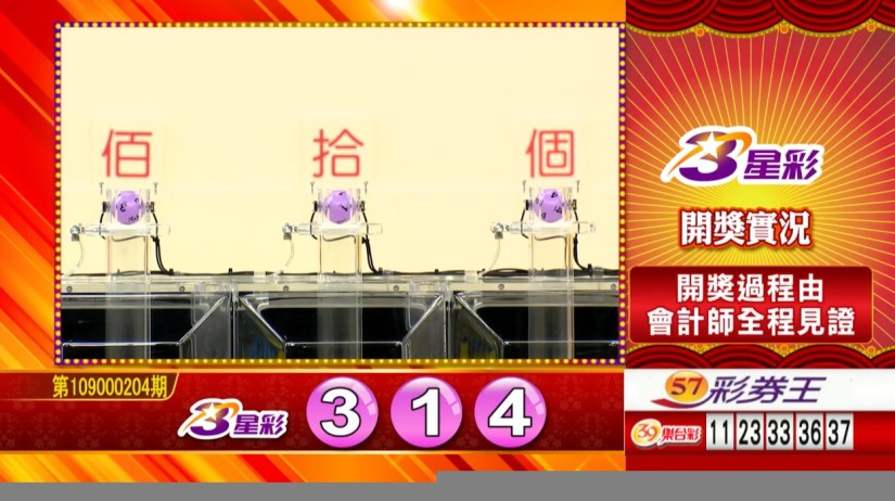 3星彩中獎號碼》第109000204期 民國109年8月25日 《#3星彩 #樂透彩開獎號碼》