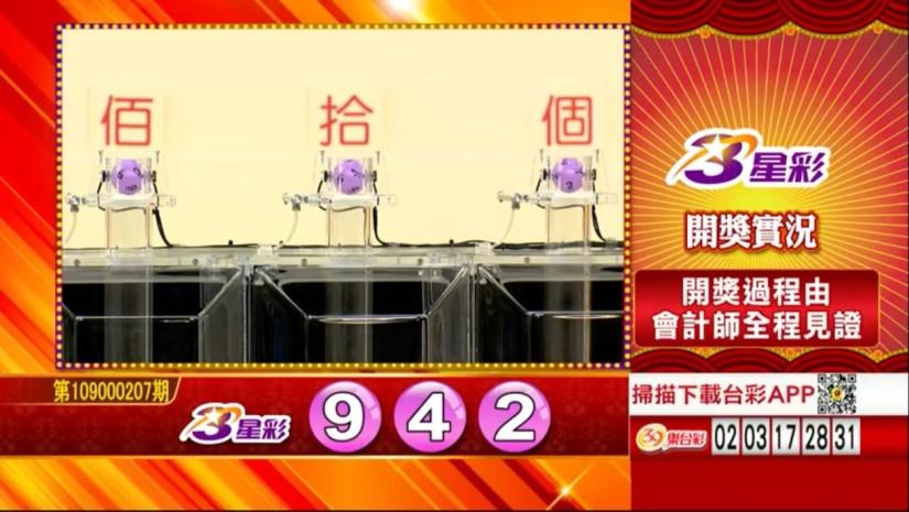 3星彩中獎號碼》第109000207期 民國109年8月28日 《#3星彩 #樂透彩開獎號碼》
