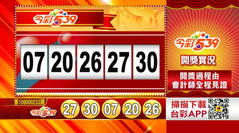 今彩539中獎號碼》第109000233期 民國109年9月28日 《#今彩539 #樂透彩開獎號碼》