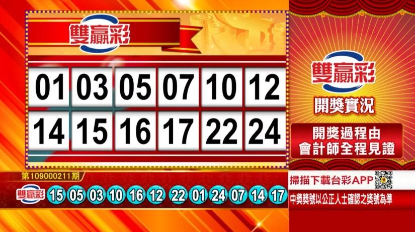 雙贏彩中獎號碼》第109000211期 民國109年9月2日 《#雙贏彩 #樂透彩開獎號碼》