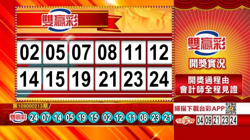雙贏彩中獎號碼》第109000213期 民國109年9月4日 《#雙贏彩 #樂透彩開獎號碼》