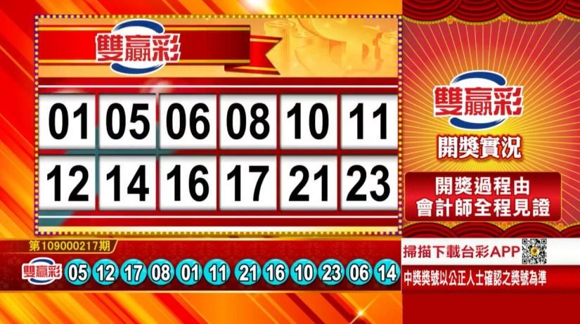 雙贏彩中獎號碼》第109000217期 民國109年9月9日 《#雙贏彩 #樂透彩開獎號碼》
