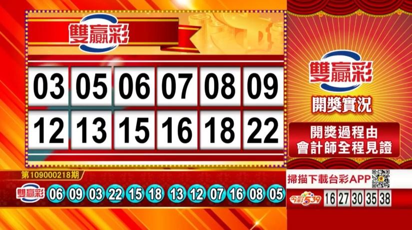 雙贏彩中獎號碼》第109000218期 民國109年9月10日 《#雙贏彩 #樂透彩開獎號碼》