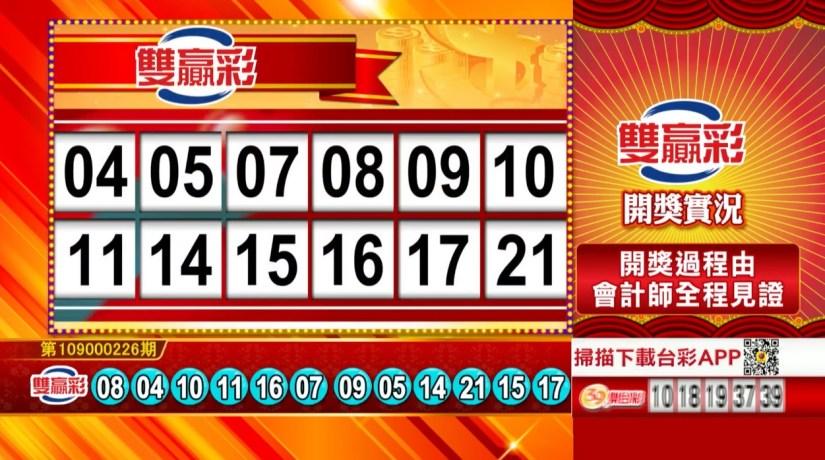 雙贏彩中獎號碼》第109000226期 民國109年9月19日 《#雙贏彩 #樂透彩開獎號碼》
