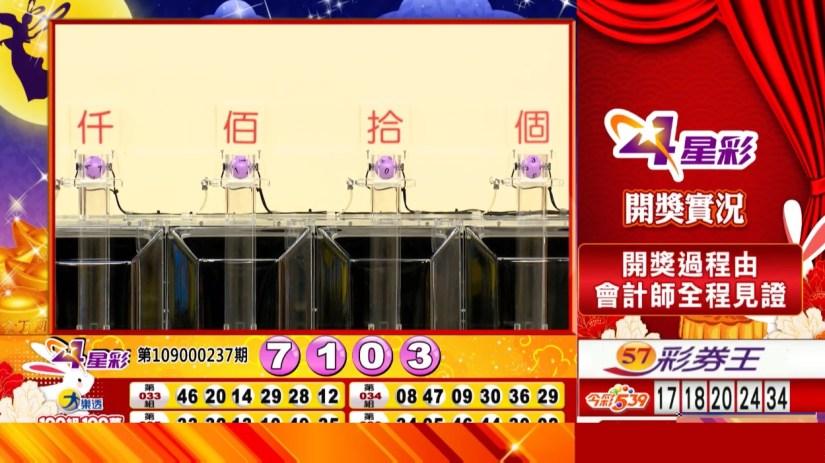 4星彩中獎號碼》第109000237期 民國109年10月2日 《#4星彩 #樂透彩開獎號碼》