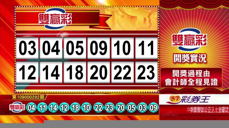 雙贏彩開獎號碼💰第109000292期 民國109年12月5日 《#雙贏彩 #樂透彩中獎號碼》