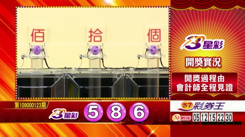 3星彩中獎號碼》第109000123期 民國109年5月22日 《#3星彩 #樂透彩開獎號碼》