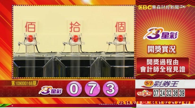 3星彩中獎號碼》第109000168期 民國109年7月14日 《#3星彩 #樂透彩開獎號碼》