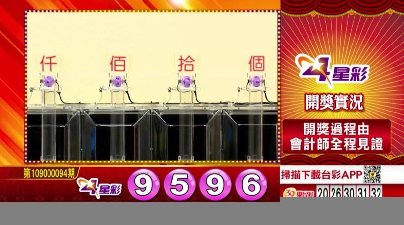 4星彩中獎號碼》第109000094期 民國109年4月18日 《#4星彩 #樂透彩開獎號碼》