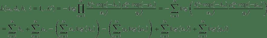 \begin{align}   & L(a_{i},d_{i},h;\ i=1,..C)=-\log \prod\limits_{n=1}^{N}{\frac{\lambda _{n}^{x_{n}}\exp (-\lambda _{n})}{x_{n}!}\frac{\mu _{n}^{y_{n}}\exp (-\mu _{n})}{y_{n}!}}=-\sum\limits_{n=1}^{N}{\log \left( \frac{\lambda _{n}^{x_{n}}\exp (-\lambda _{n})}{x_{n}!}\frac{\mu _{n}^{y_{n}}\exp (-\mu _{n})}{y_{n}!} \right)} \\   & =\sum\limits_{n=1}^{N}{\lambda _{n}}+\sum\limits_{n=1}^{N}{\mu _{n}}-\left( \sum\limits_{n=1}^{N}{x_{n}\log \left( \lambda _{n} \right)} \right)-\left( \sum\limits_{n=1}^{N}{y_{n}\log \left( \mu _{n} \right)} \right)+\sum\limits_{n=1}^{N}{\log \left( x_{n}! \right)}+\sum\limits_{n=1}^{N}{\log \left( y_{n}! \right)} \\  \end{align}