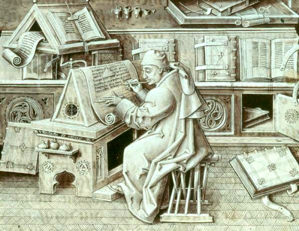 Renaissance painting of a scribe writing on parchment in a writer's workshop, surrounded by scrolls and books.