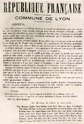 Proclamation of the Lyon Commune of 1870, co-w...