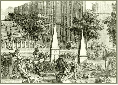 Vue du Cours lors de la Peste de Marseille en 1720