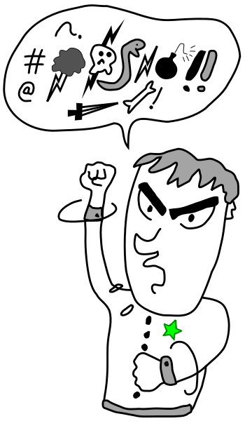 Cartoon of a man swearing with the symbols appearing in a chat bubble