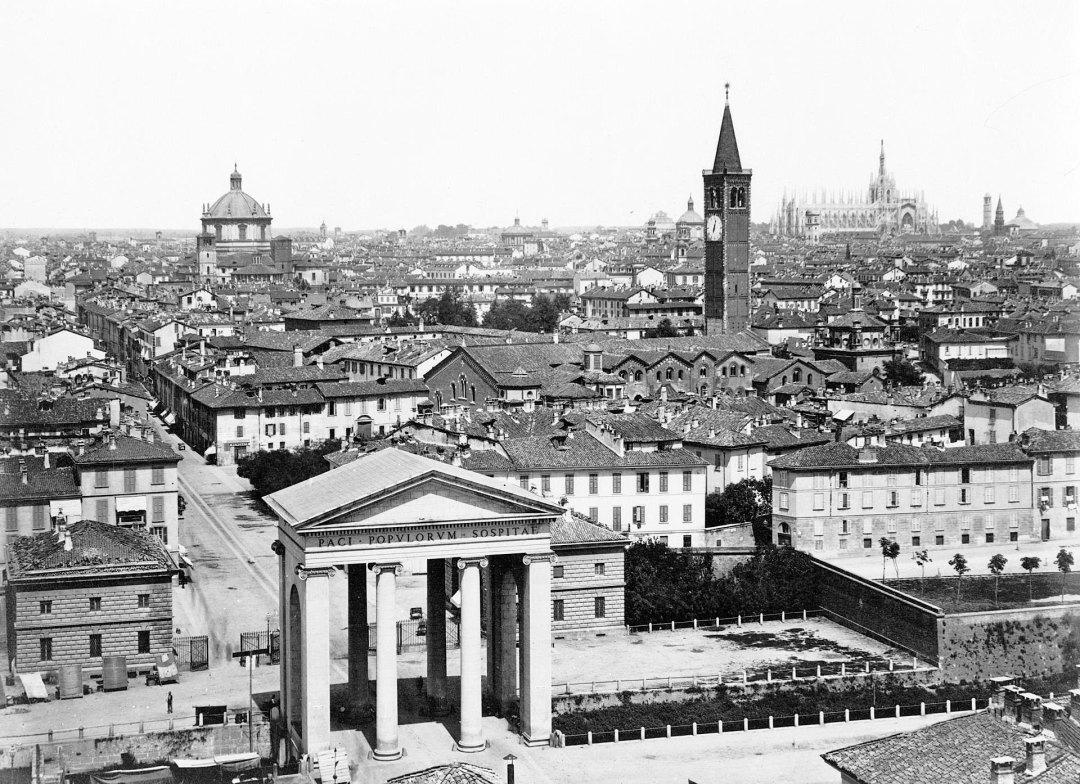 Mediolan w XIX wieku. Widok z Porta Ticinese