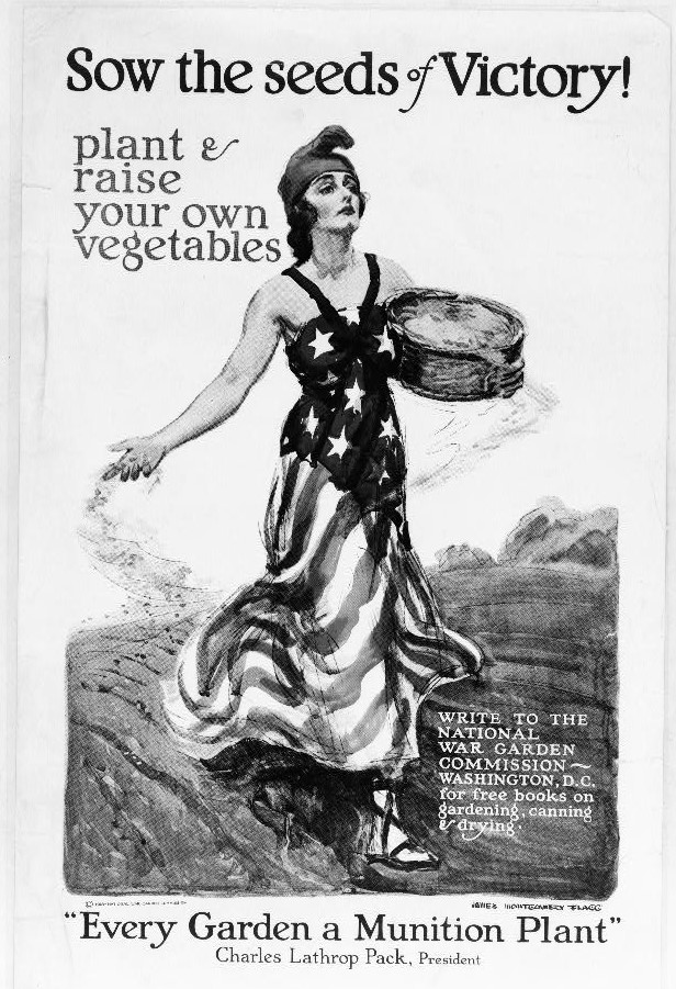 sow the seeds of victory garden vintage poster