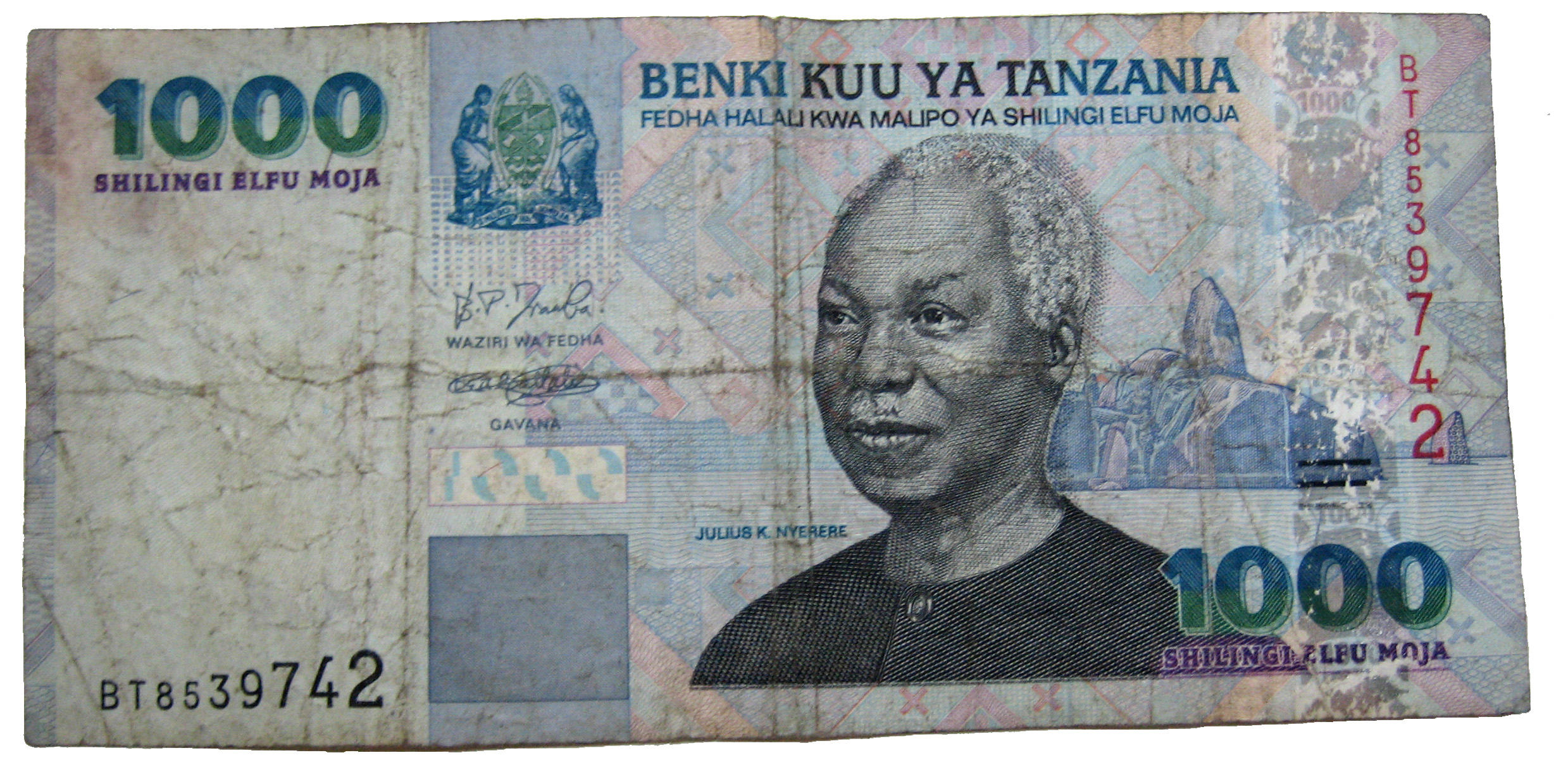 Nyerere's portrait on the Tanzanian shillings banknote of 1000.