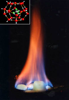 """Burning ice"". Methane, released by heating, burns; water drips. Inset: clathrate structure (University of Göttingen, GZG. Abt. Kristallographie). Source: United States Geological Survey."