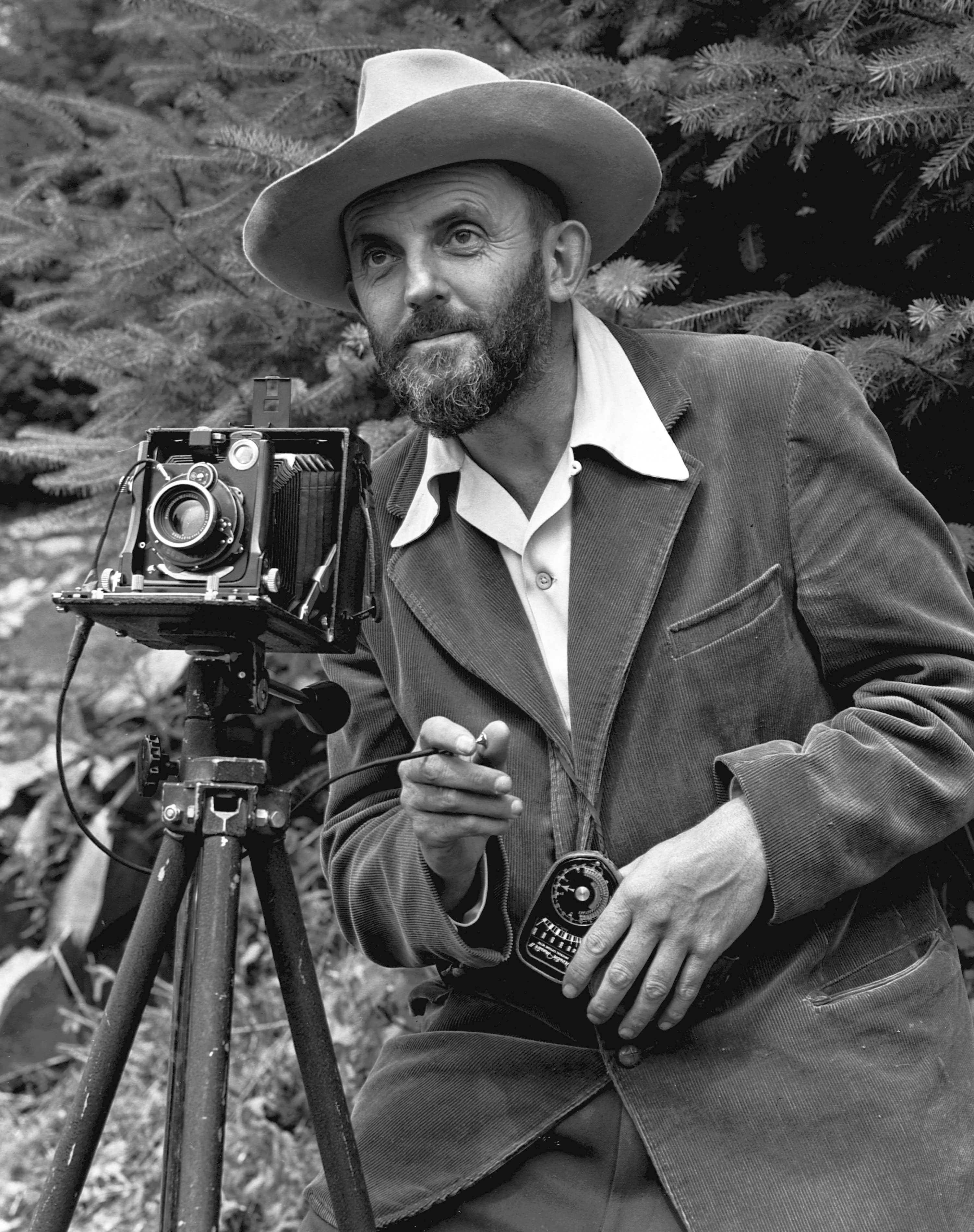 A photo portrait of photographer Ansel Adams, ...