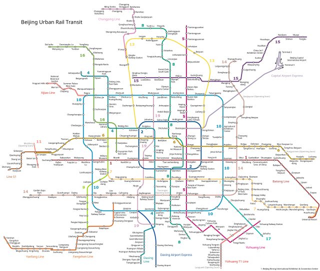 Beijing Subway Map from Wikipedia
