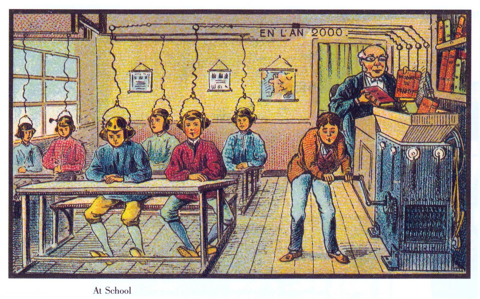 Illustration of 19th century classroom - imagine learning in the future