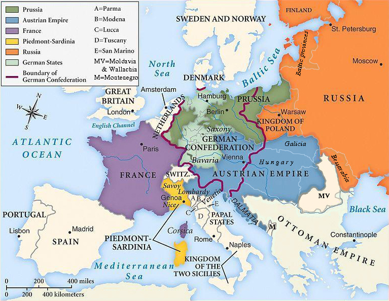Map of Europe, after the Congress of Vienna, 1815.
