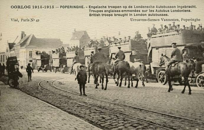 English: A postcard of troops arriving in Pope...