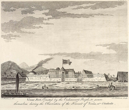 """This is an image of a print entitled """"Venus Fort, Erected by the Endeavour's People to secure themselves during the Observation of the Transit of Venus, at Otaheite."""" by Sydney Parkinson. Original caption: """"Drawings illustrative of Captain Cook's First Voyage, 1768-1771 located in the British Library"""""""