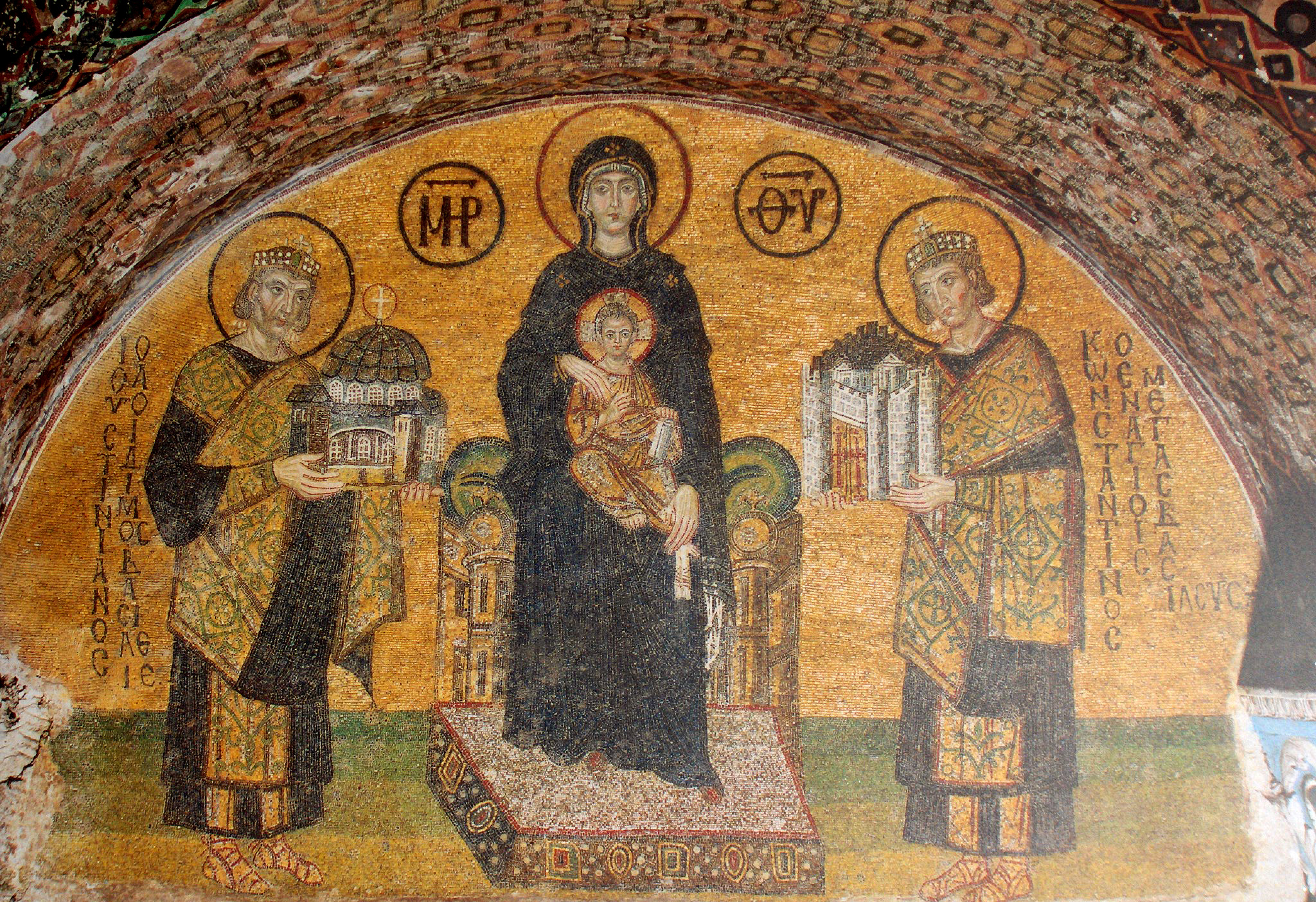 Theotokos and Christ flanked by Justinian I and Constantine I, from Hagia Sophia