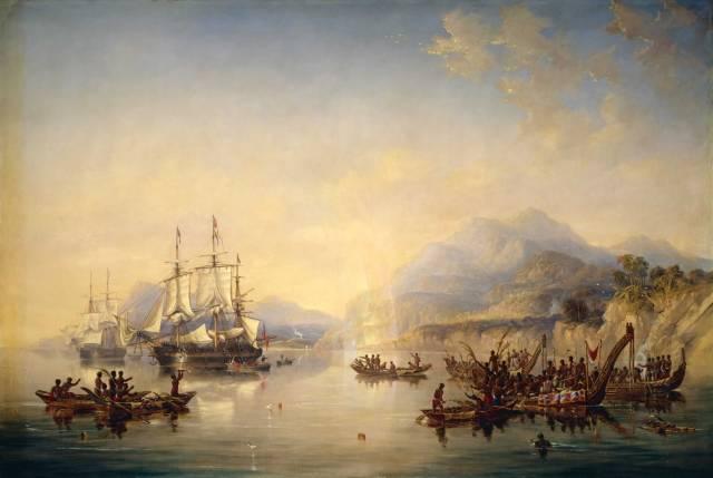 L'Erebus et le Terror en Nouvelle-Zélande, août 1841