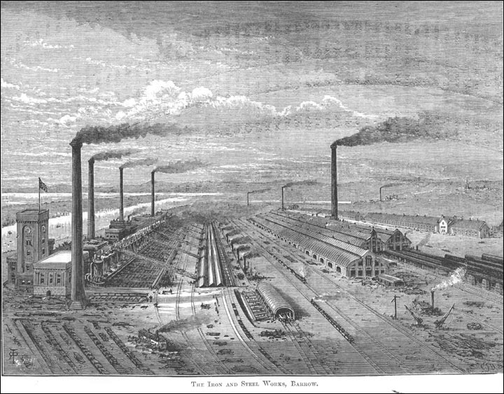 The Barrow Hematite Steel Company based in Barrow-in-Furness, Lancashire operated the largest iron and steelworks in the world during the Industrial Revolution.