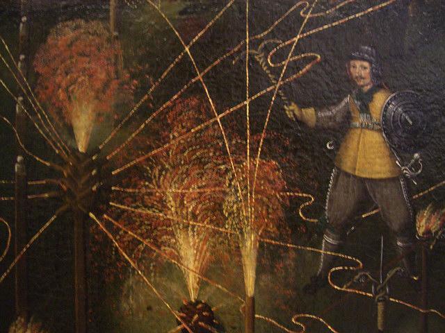 Detail from the painting Feuerwerkh, welches Herr Johann Kouhn