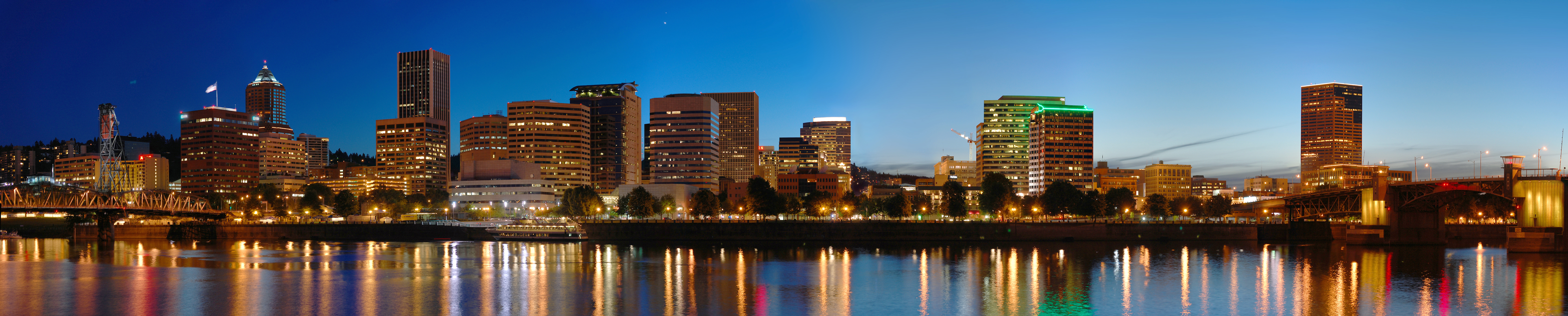 A stitched panorama of downtown Portland, OR a...