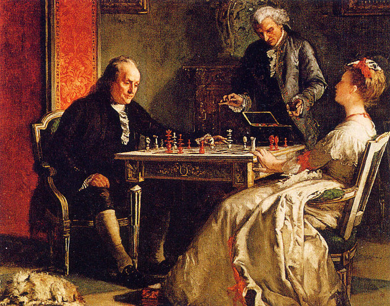Ben Franklin plays chess with Lady Howe, 1867 painting by Edward Harrison May